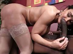 Black dude pleasures hot shaped lady boss to get the job.