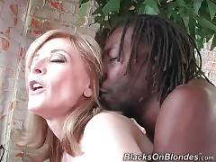 Breasted white lady greatly enjoys riding massive black cock.