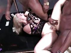 Five horny black buddies are sharing white chick with craving holes.
